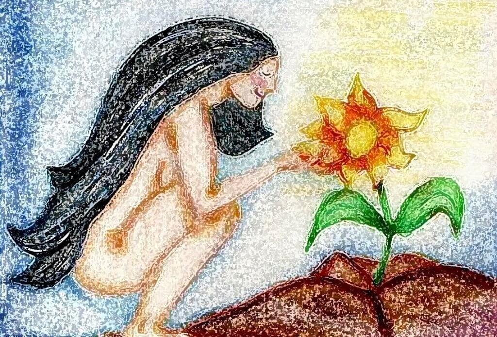 femme arrosant une fleur