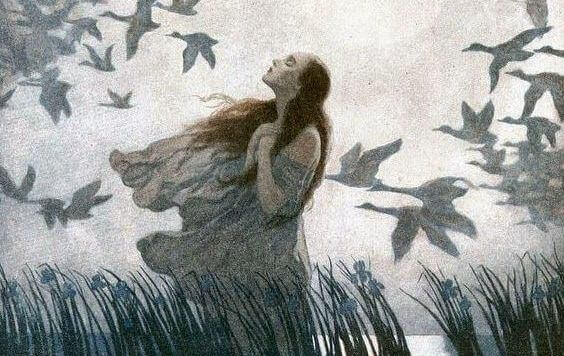 femme avec des oiseaux