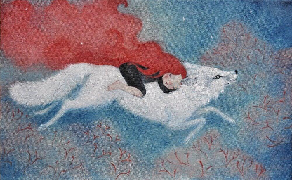 femme sur un loup