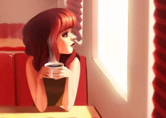 fille buvant un cafe