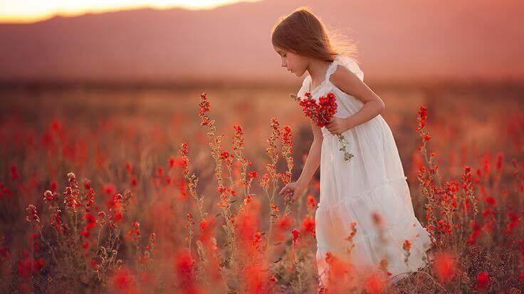 fille dans un champ de fleurs rouges