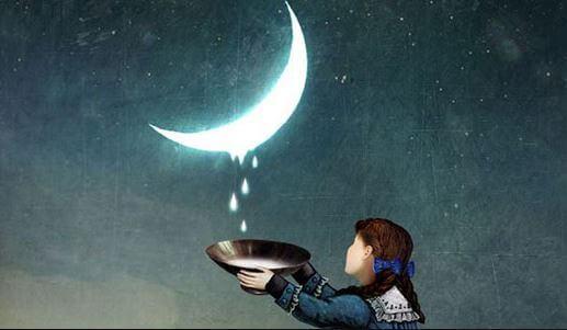 fille ramassant les gouttes de la lune
