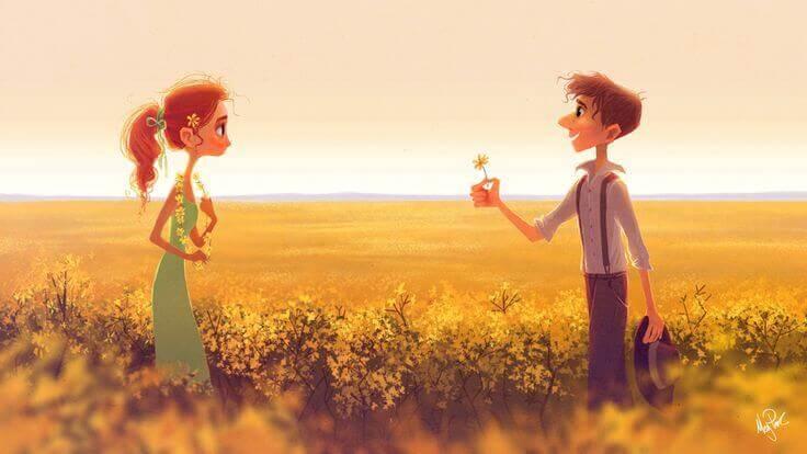 garcon qui offre une fleur a une fille