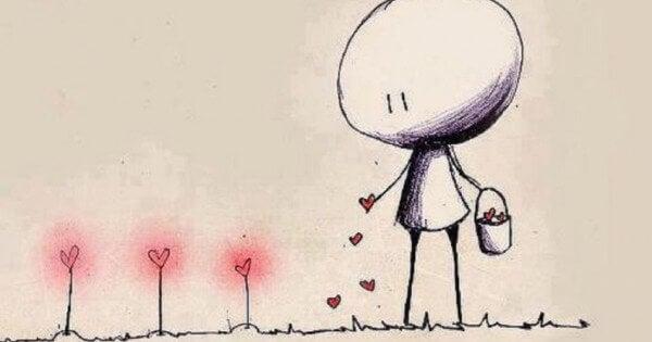 homme arrosant d'amour
