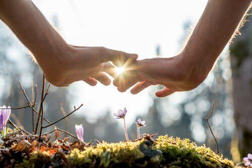 mains touchant des fleurs