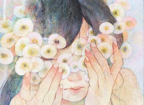 mujer-con-flores-redondas-en-la-cara