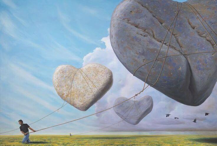 pierre en forme de coeurs