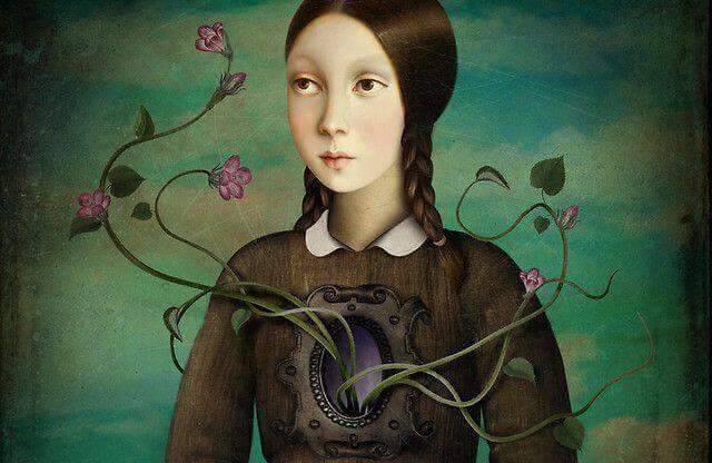 Femme-avec-fleurs-sur-la-poitrine