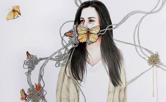 Femme-papillons-dans-la-bouche