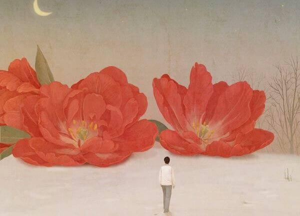 Homme-avancant-vers-des-fleurs-rouges