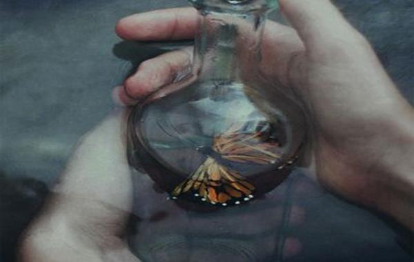 Papillon-dans-un-pot-en-verre