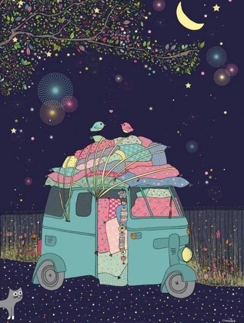 caravane-coloree-la-nuit-faire-ce-que-l'on-aime-500x661