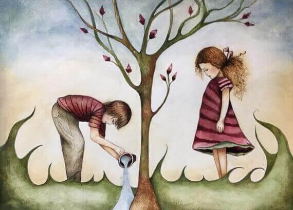 Enfant-arrosant-un-arbre