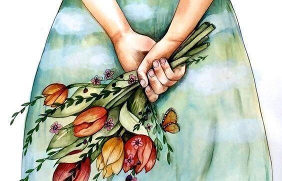Femme-avec-bouquet-de-fleurs-se-sentant-bien