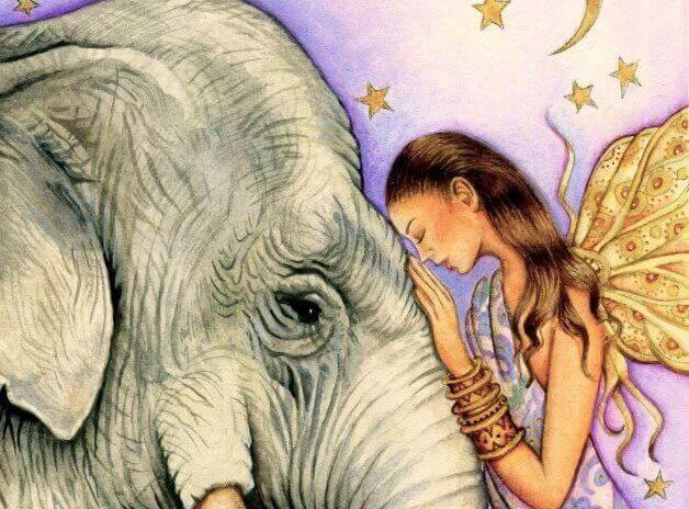 Femme-et-elephant-faisant-le-bien