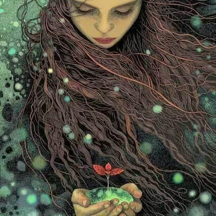 Femme-fleur-dans-ses-mains