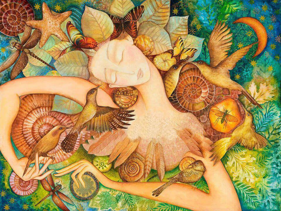 Femme-oiseaux-fleurs