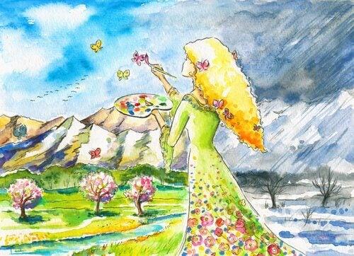Femme-peignant-des-couleurs