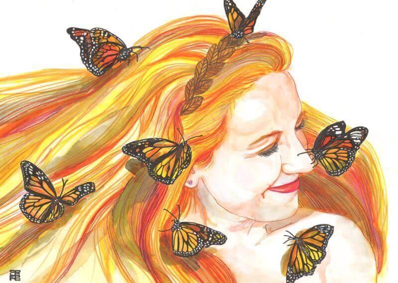 Femme-souriant-papillons