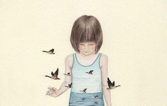 Fille-entouree-d'oiseaux