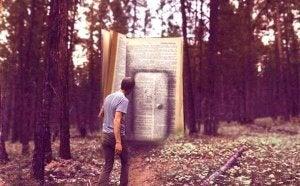 Homme-devant-la -porte-d'un-livre-geant