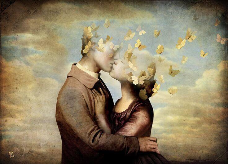 Couple-qui-s-embrasse-tete-de-papillons