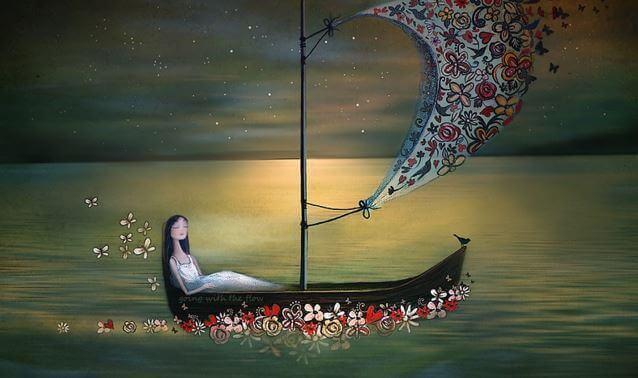 Femme-navire-naviguant-sur-des-fleurs