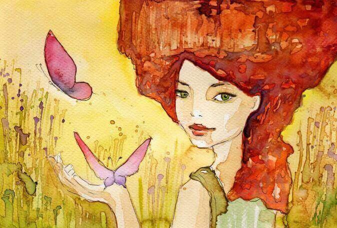 Femme-papillons-roses-sur-le-visage