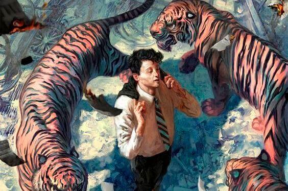 Homme-entoure-de-tigres
