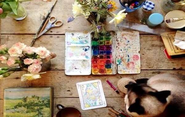 Peinture-fleurs-chat