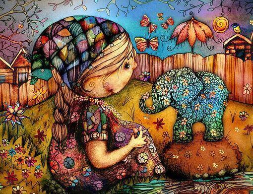Petite-fille-avec-une-fleur-et-un-elephant