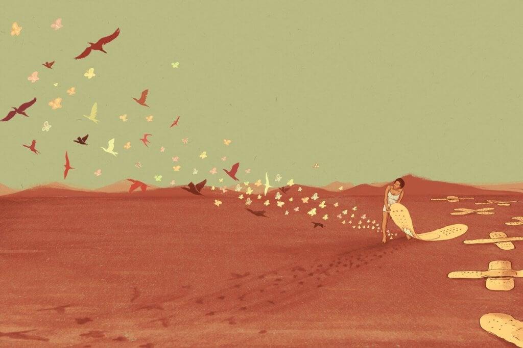 femme-qui-sort-d-un-nid-de-papillons-1024x683