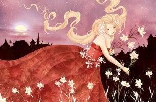 femme-ramassant-des-fleurs