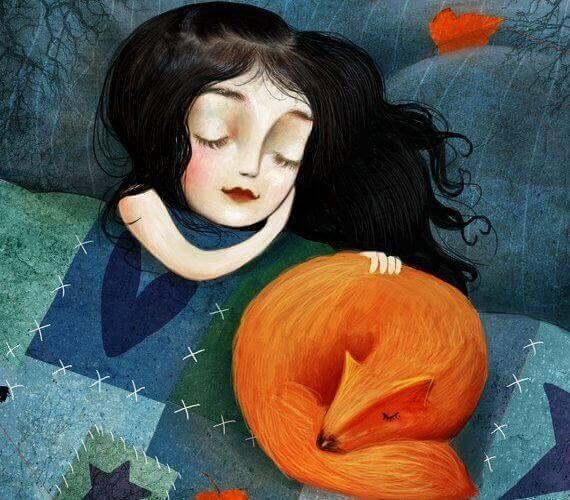 fille-dormant-avec-un-renard
