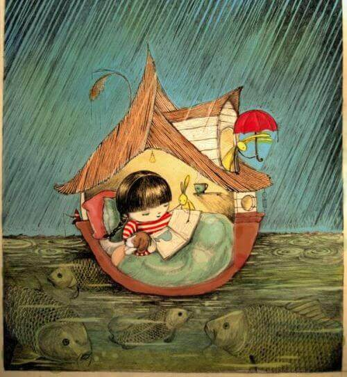 fille-lisant-sous-la-pluie