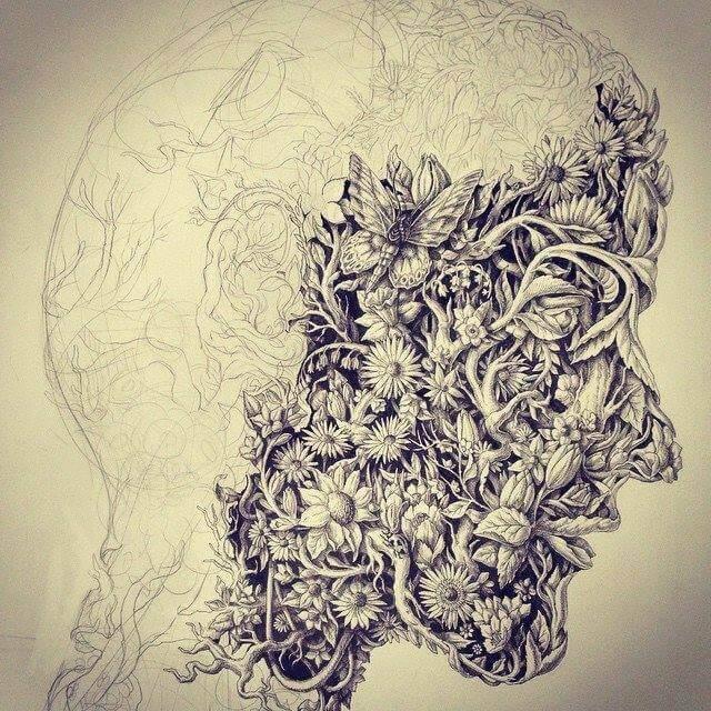 homme masque en fleurs