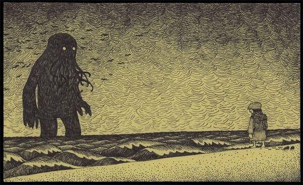 hombre-enfrente-de-un-monstruo