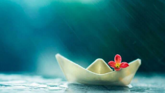bateau-en-papier-et-fleur-sous-la-pluie-de-lete