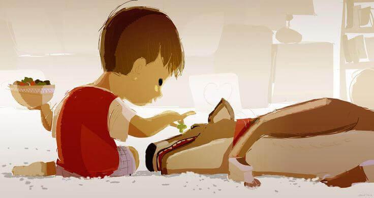 L'enfant et son animal de compagnie