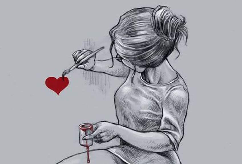 femme-peignant-un-coeur