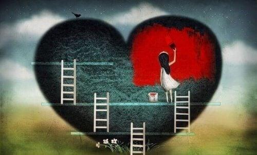 chica-pintando-corazon-roto
