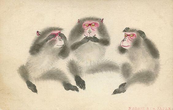 L'enseignement des trois singes sages sur le sanctuaire de Toshogu