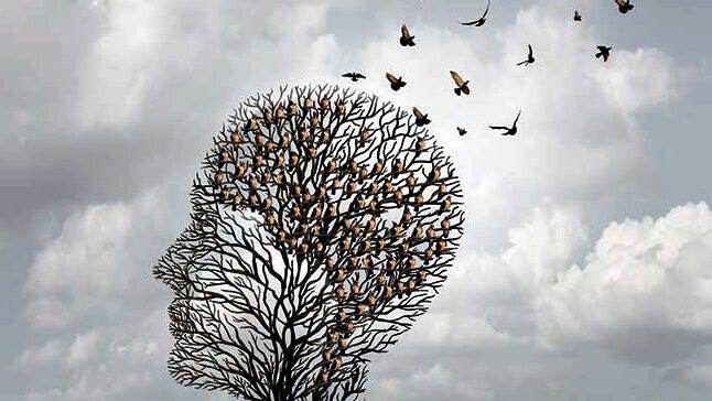 arbre en forme de tête et oiseaux qui s'en envolent représentant la mémoire des personnes atteintes d'Alzheimer