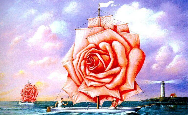bateau avec une rose en guise de voile
