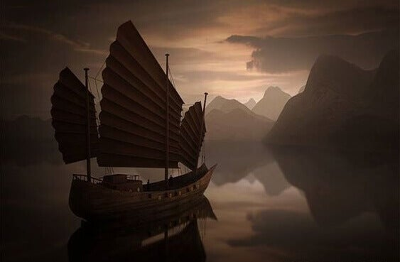 mort caractérisée par un bateau aux voiles sombres