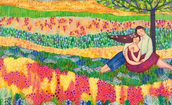 couple dans champ coloré