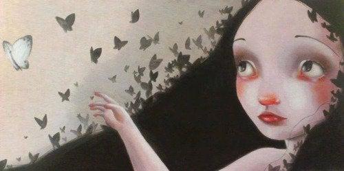 petite fille et papillons