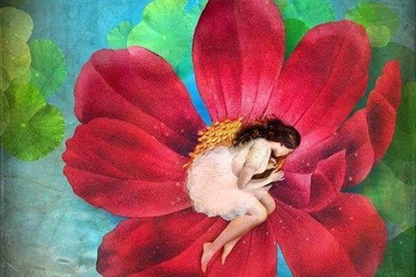 femme qui dort dans une fleur