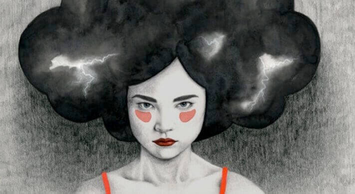 femme avec tempête dans la tête