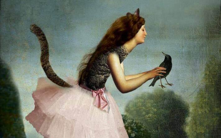 femme chat et oiseau